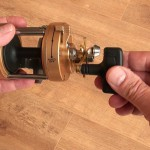 Vantage 880 gold multiplier reel body showing large wind handle