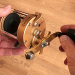 Vantage 880 gold multiplier reel free spool lever in the on locked position