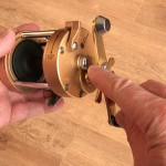 Vantage 880 gold multiplier reel control knob for applying drag on free spool run to prevent over runs