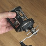 Vantage CA30L multiplier reel with grip position for thumb when reeling in