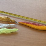 Smooth fish pirk with the muppet attached showing the overall size