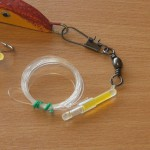 Nordic Pirk with lumi tube trace attached with close up of the interlock swivel size 1/0 to 45lb mono