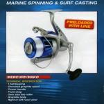 Sea Fishing fixed spool reel the Mercury Mako with line on