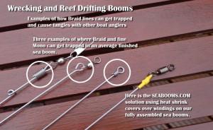Sea fishing over wrecks using steel booms
