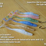 Lure making in the UK devitail eels in transflex silicone rubber plus Eagle Claw jigheads