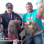 Top skate anglers with thornback Rays on the Skerry Belle charter boat